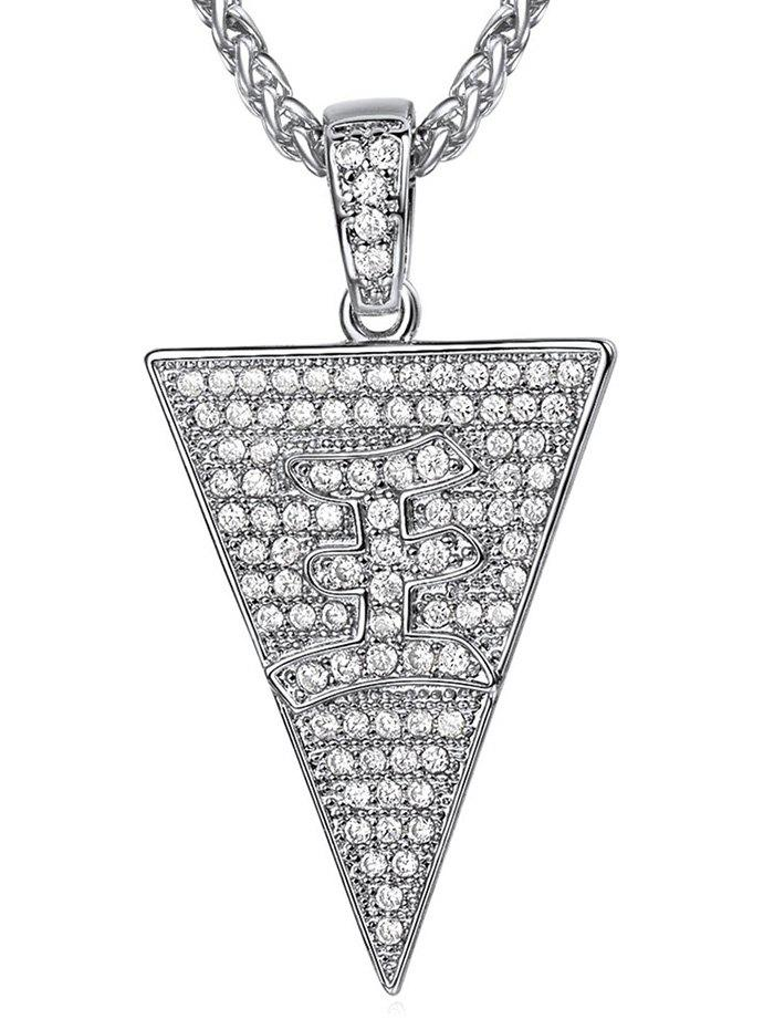 Fancy Triangle Zircon Character Pendant Necklace