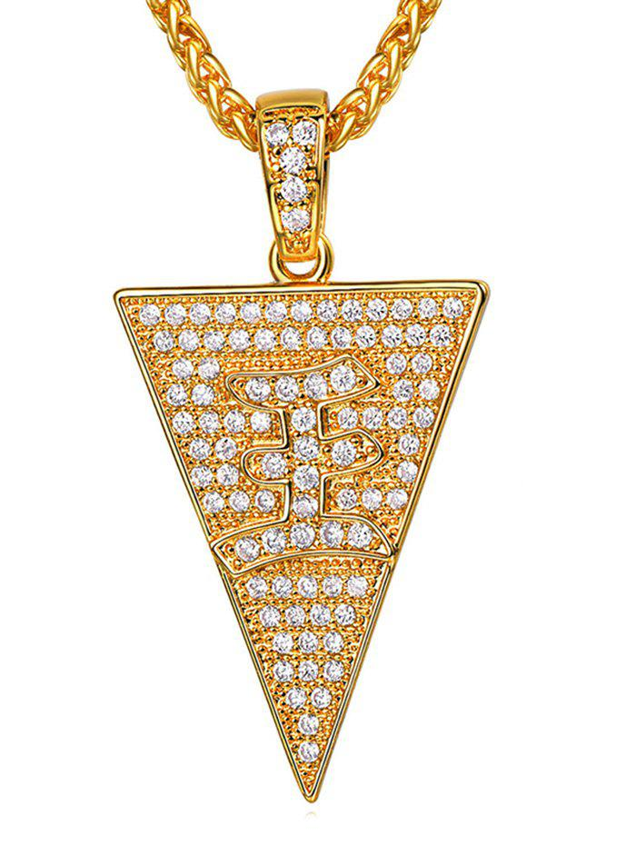 Chic Triangle Zircon Character Pendant Necklace