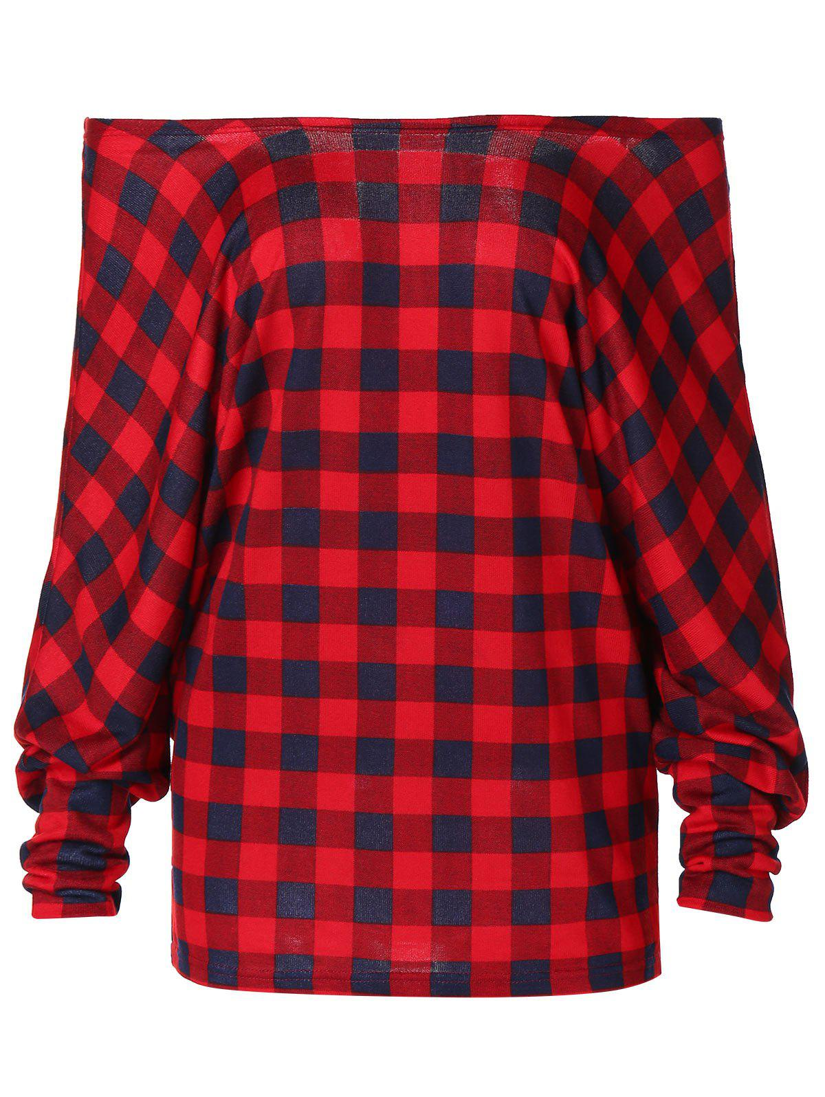 New Off Shoulder Plaid Sweater Pullover