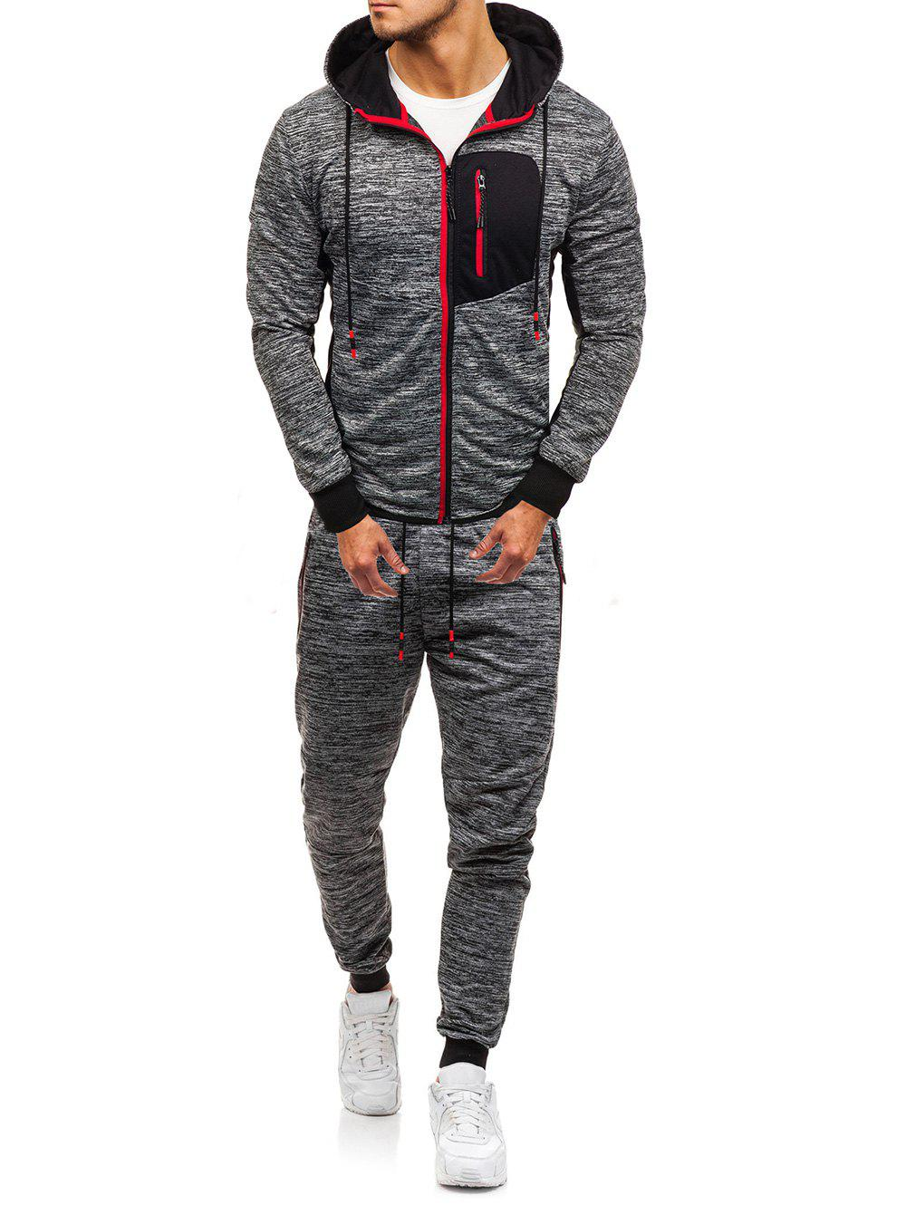 Shop Front Zip Pocket Hoodie and Jogger Pants Twinset