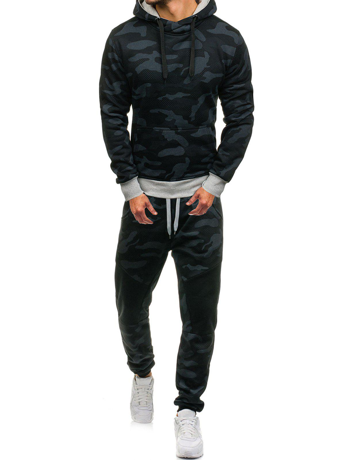 Camouflage Pattern Hoodie and Jogger Pants Twinset, Black