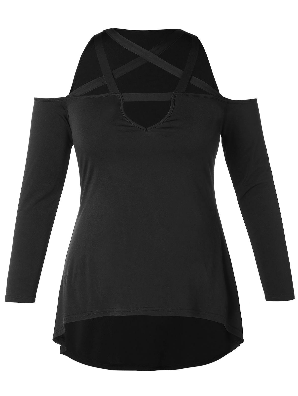 New Plus Size Long Sleeve Criss Cross Open Shoulder T-shirt