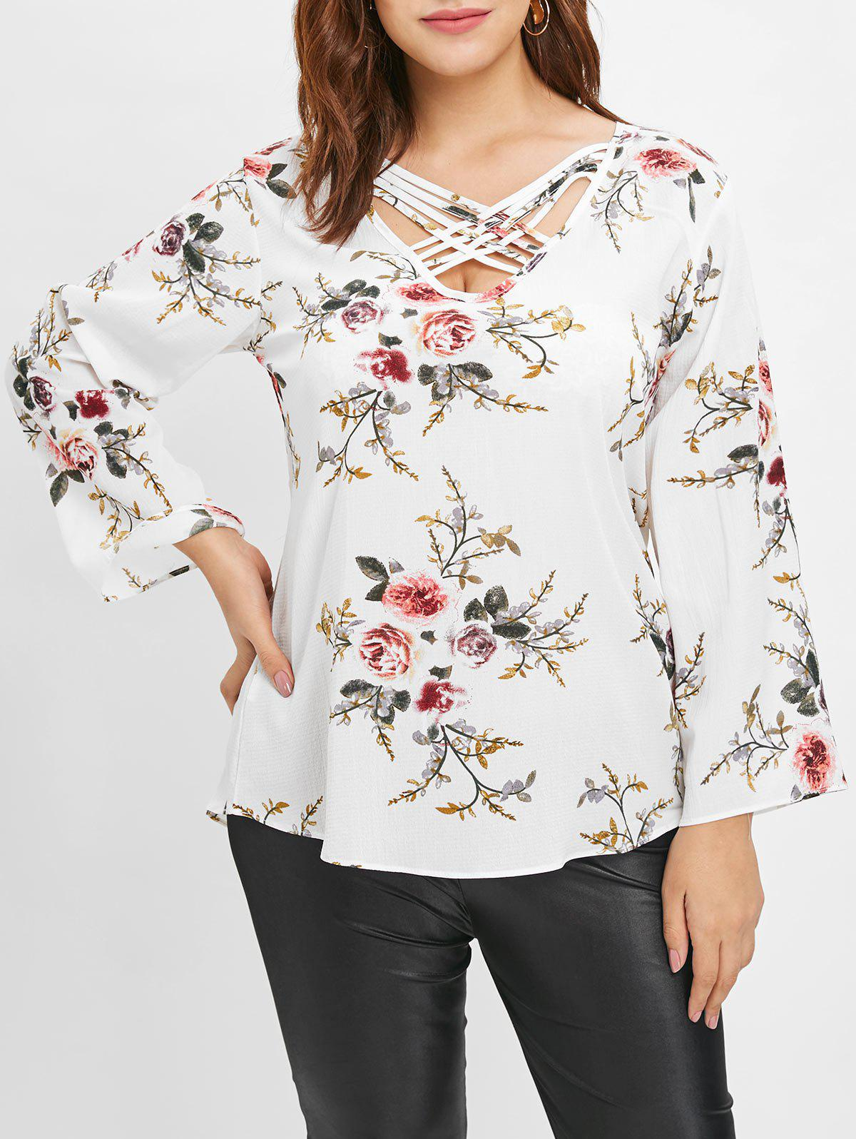 2019 Plus Size Floral Blouse With Criss Cross Rosegal