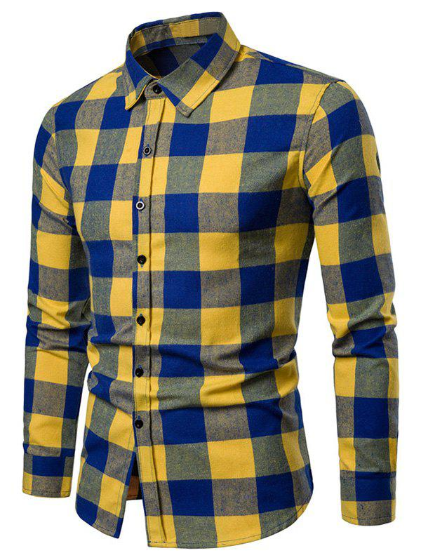 Outfit Turn-down Collar Checked Shirt