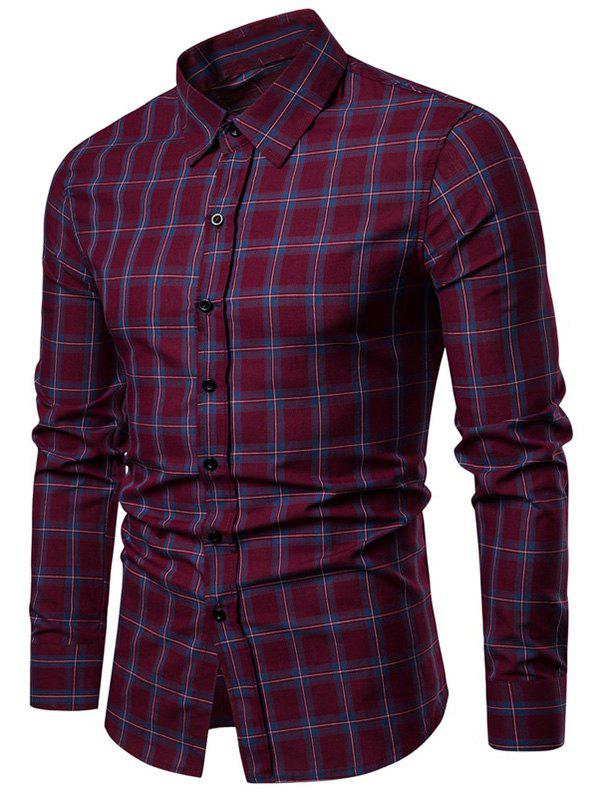 Outfit Turn-down Collar Casual Checkered Shirt
