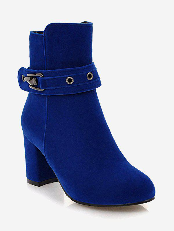 Chic Plus Size Buckle Strap Heeled Ankle Boots