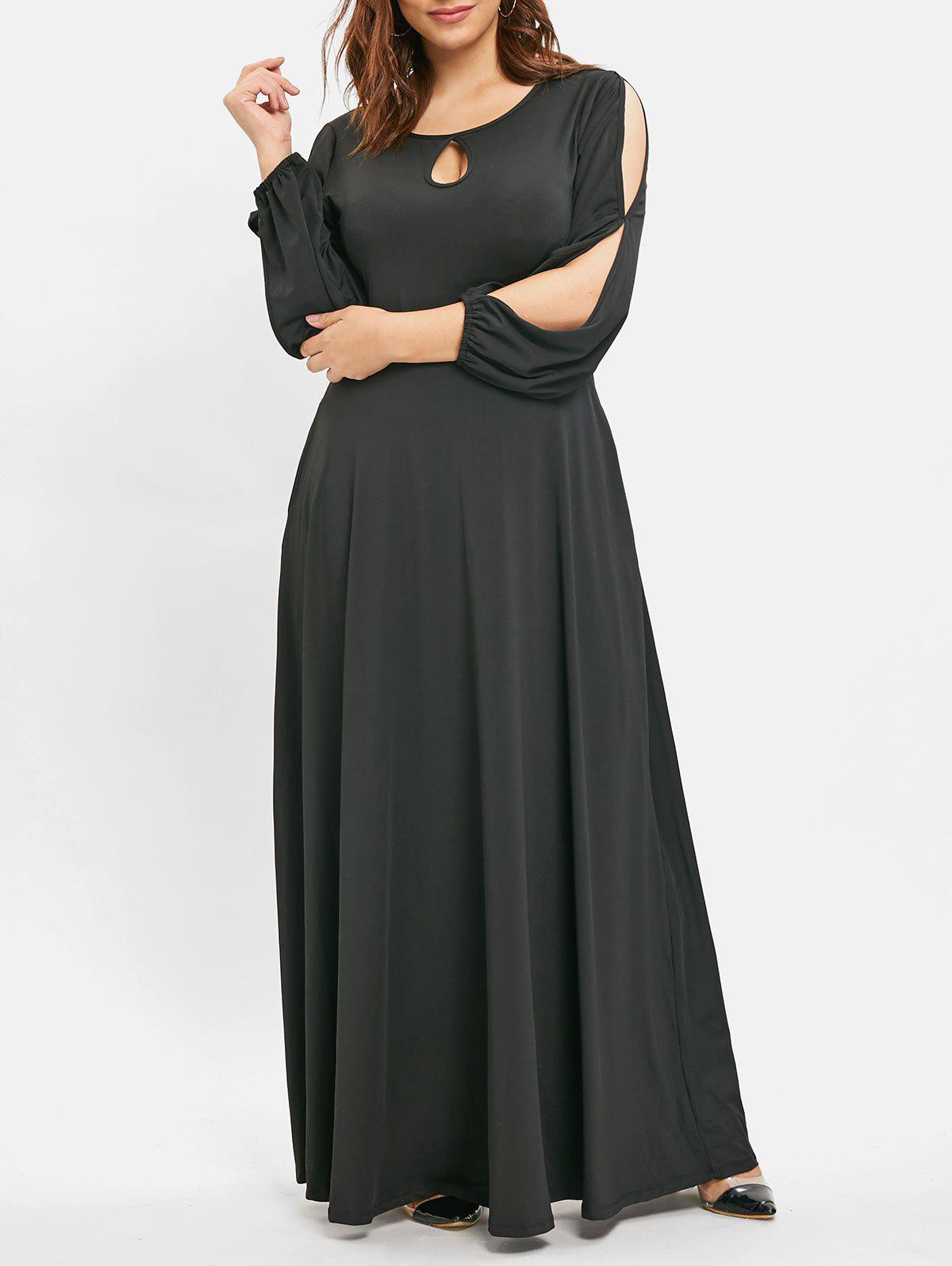 Store Long Sleeve Plus Size Keyhole Neck Maxi Dress