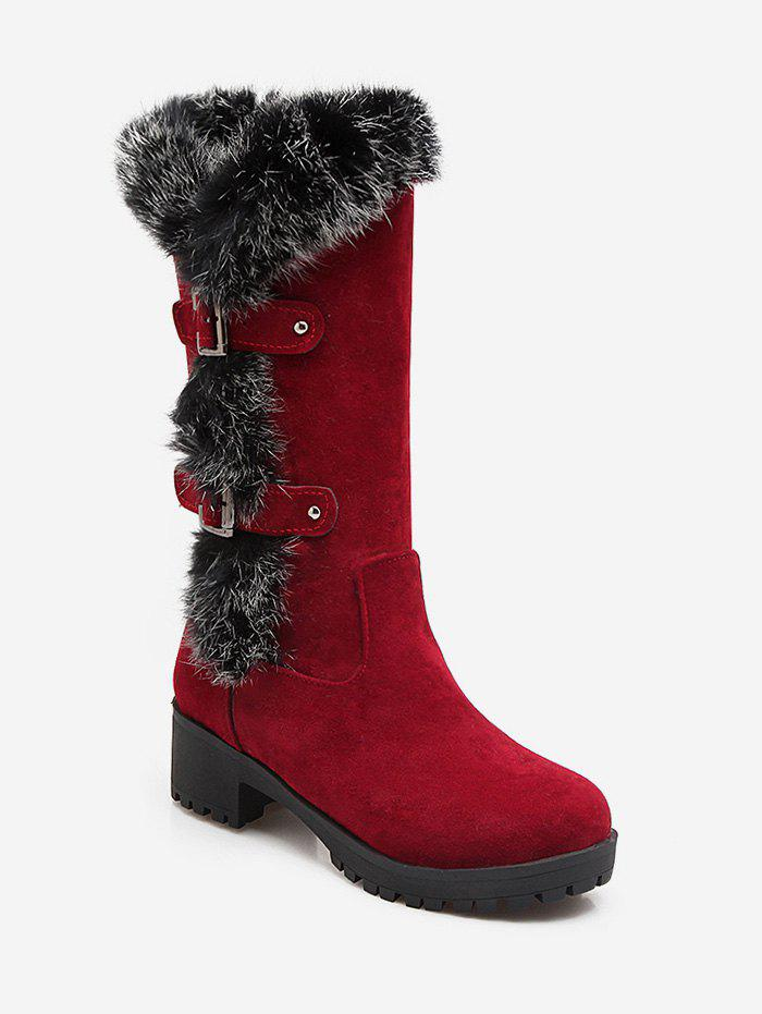 Unique Plus Size Buckle Detail Faux Fur Knee High Boots