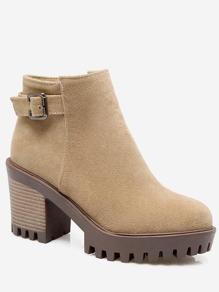 Cheap Plus Size Buckle Detail Heeled Ankle Boots