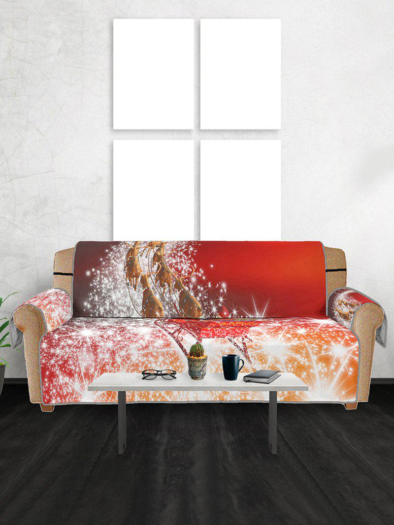 Hot Christmas Elk Sleigh Pattern Couch Cover