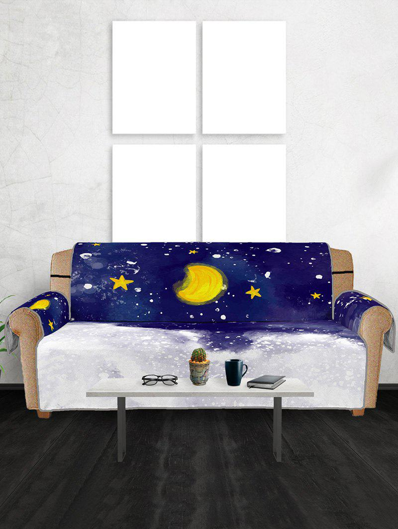 Christmas Moon Night Pattern Couch Cover Многоцветный Три места