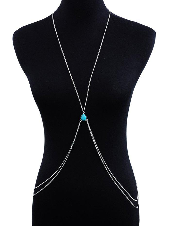 Hot Faux Turquoise Cross Double Layered Body Chain
