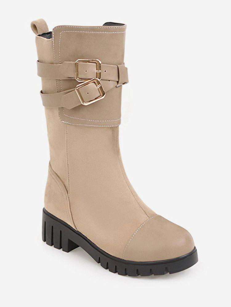 Cheap Plus Size Wrap Buckle Mid Calf Boots