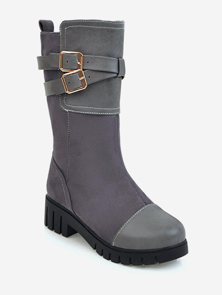 Latest Plus Size Wrap Buckle Mid Calf Boots