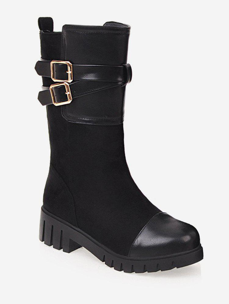Chic Plus Size Wrap Buckle Mid Calf Boots