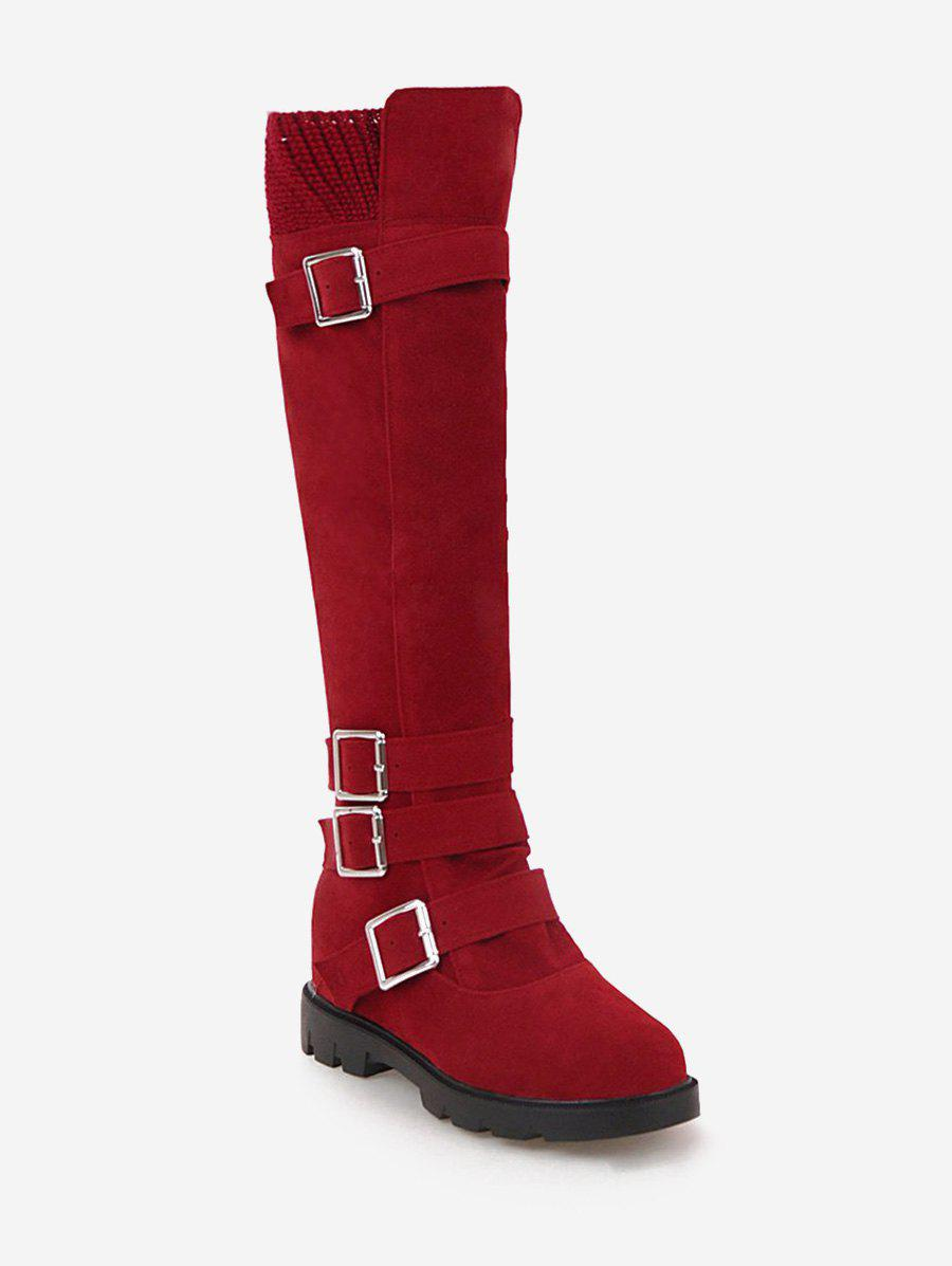 New Plus Size Buckle Strap Suede Knee High Boots