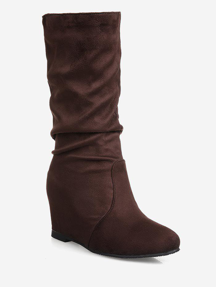 Fashion Plus Size Hidden Wedge Ruched Mid Calf Boots