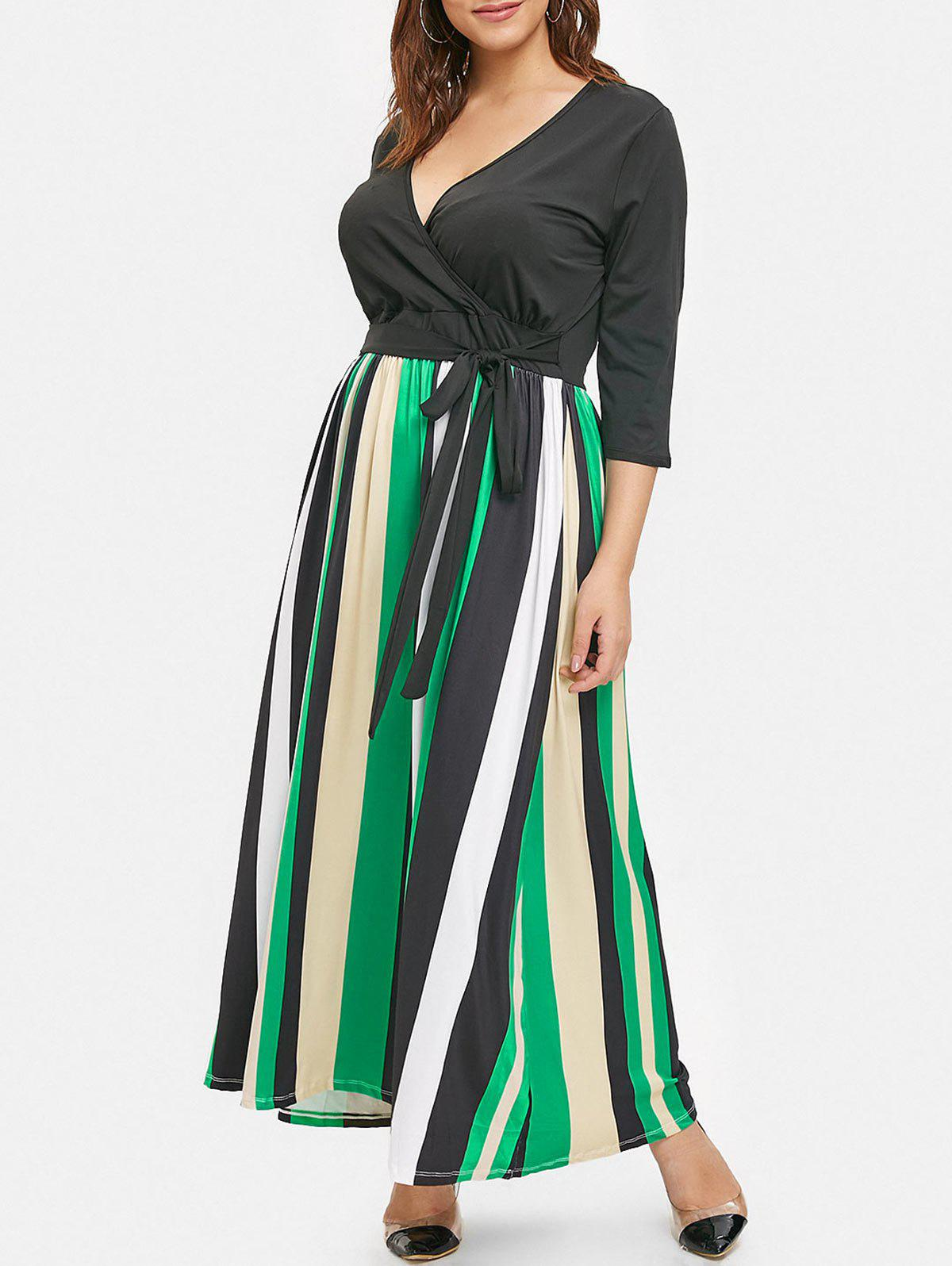 Chic Plus Size Striped Panel Ankle Length Dress