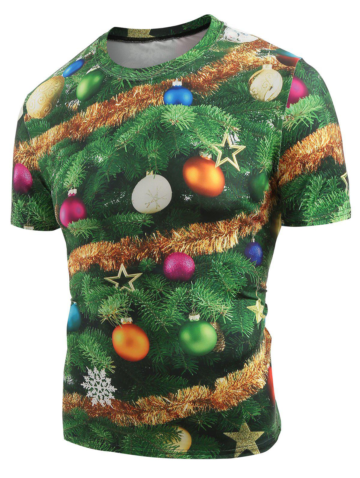 Chic Christmas Baubles Printed Crew Neck T-shirt