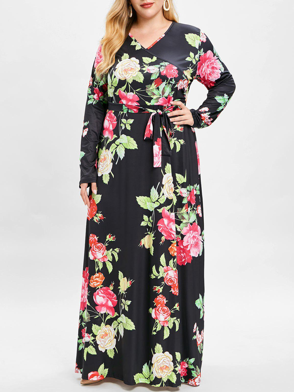 Outfit Bohemian Floral Print Maxi Plus Size Dress