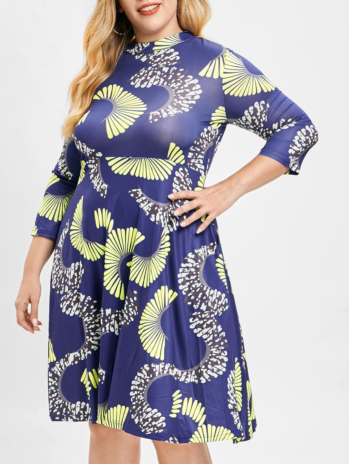 Outfits Plus Size Printed A Line Dress