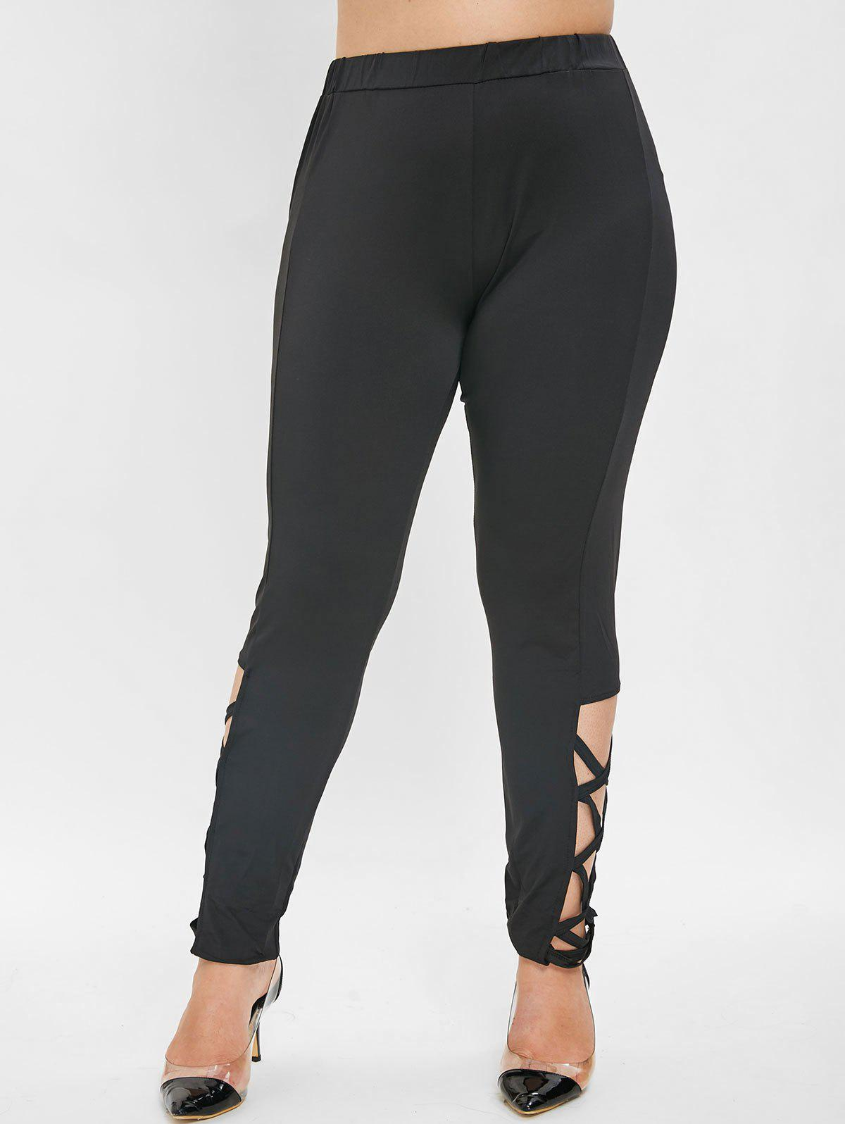 Trendy Side Criss Cross Plus Size Leggings