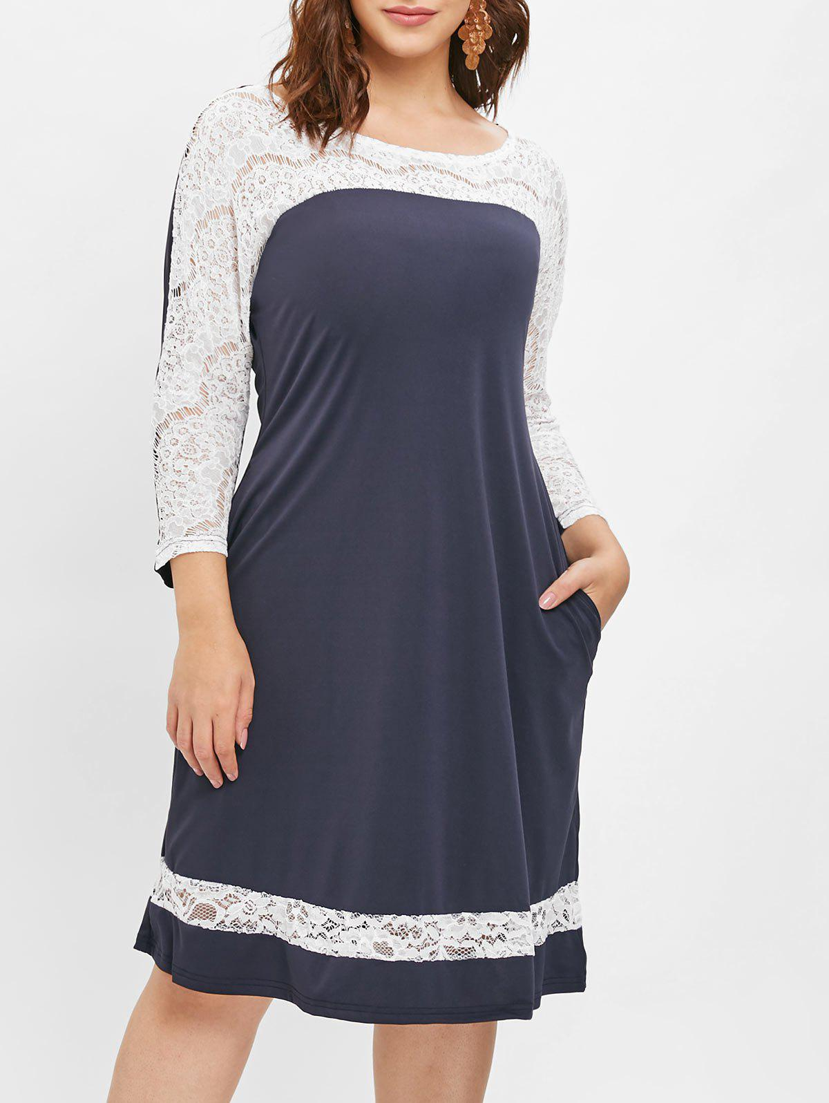 Unique Plus Size Lace Panel Dress with Pocket