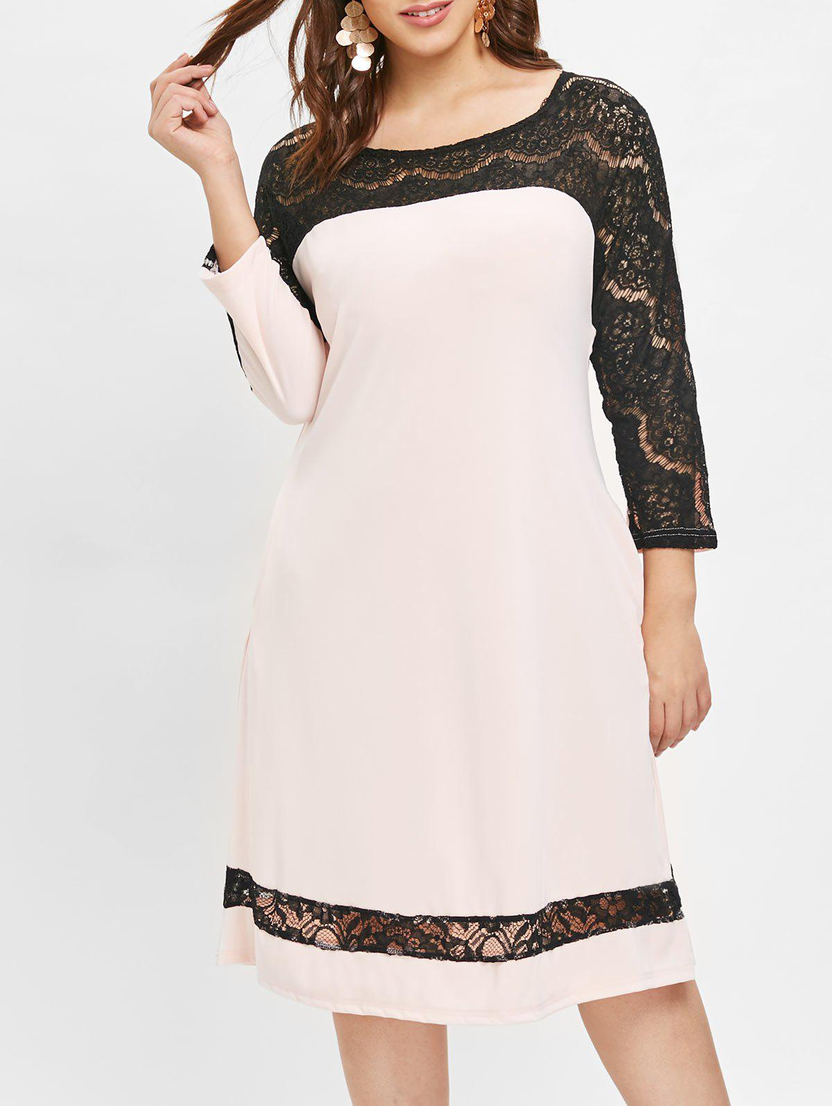Buy Plus Size Lace Panel Dress with Pocket