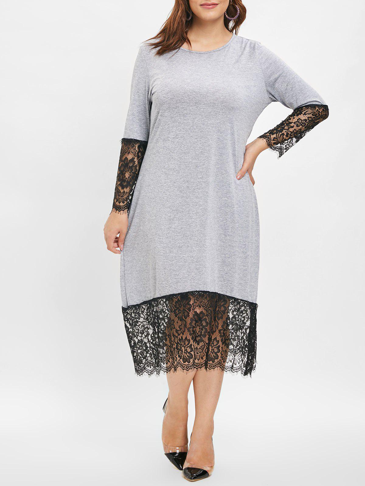 Sale Plus Size Lace Trim Midi Dress