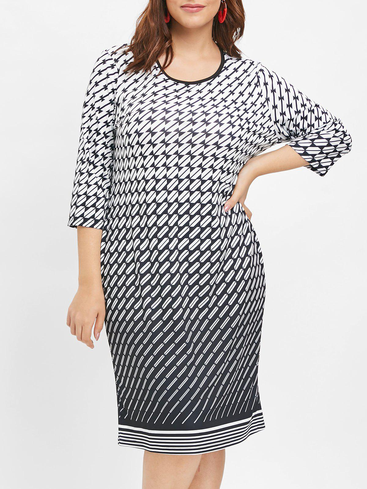 Chic Plus Size Print Sheath Dress