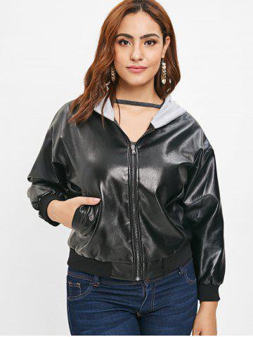Faux Leather Plus Size Hooded Jacket