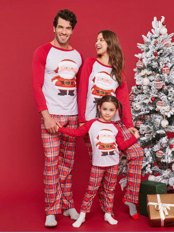 Christmas Santa Claus Print Plaid Family Pajamas Sets b48d8f62b