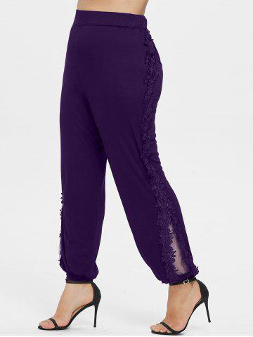 Plus Size Lace Applique Pants