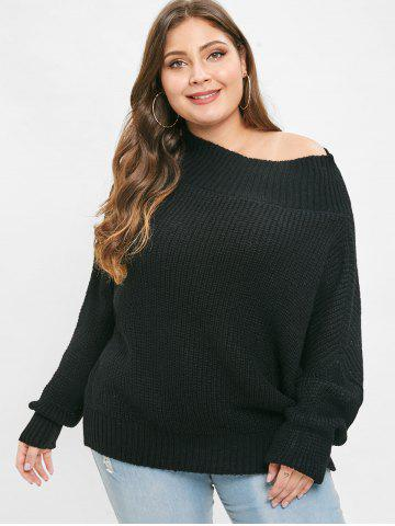 Skew Neck Plus Size Long Sleeve Pullover Sweater