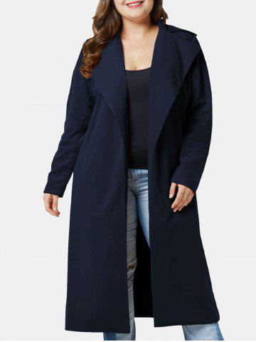 Plus Size Longline Coat with Open Front
