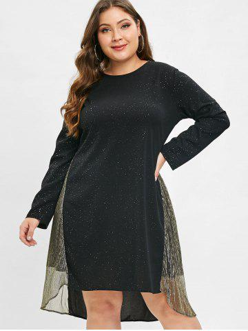 Plus Size Shiny Panel Midi Dress