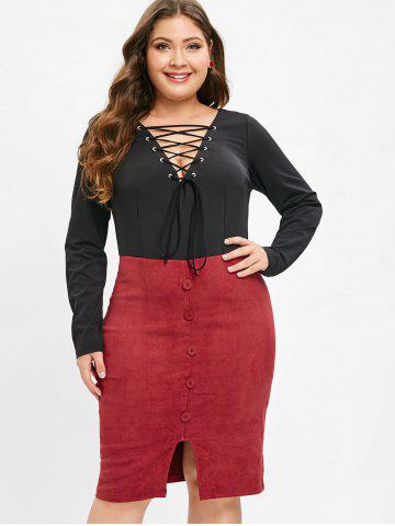Plus Size Long Sleeves Bodycon Dress with Lace Up
