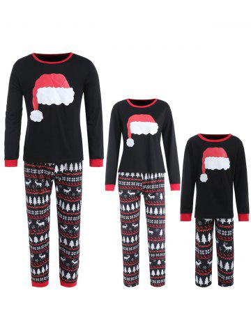 Family Christmas Hat Print Pajamas - BLACK - KID 7T