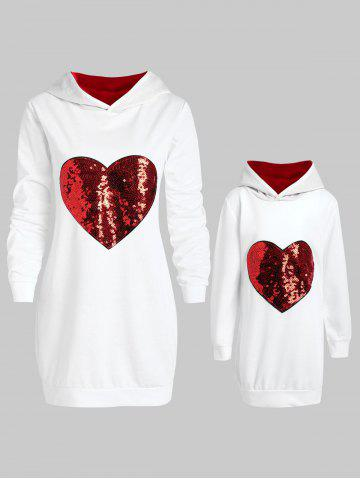 Mother and Daughter Matching Heart Sequins Tunic Hoodie