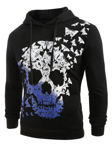Skull and Butterfly Print Pullover Hoodie