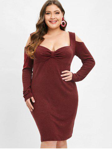 Plus Size Long Sleeves Bodycon Dress with Knot
