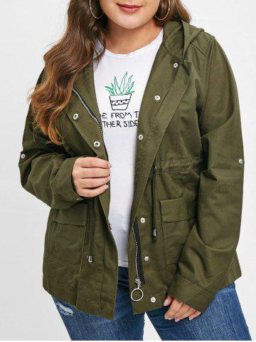 Plus Size Zip Up Hooded Jacket - ARMY GREEN - L