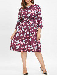 Plus Size Mid Calf Floral Printed Dress -