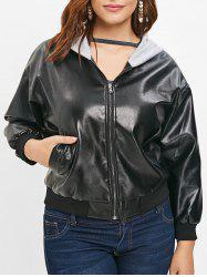Faux Leather Plus Size Hooded Jacket -
