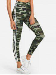 Camo Print Side Striped Gym Leggings -