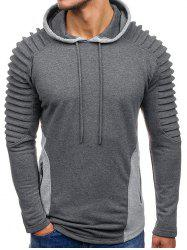Color Block Layer Drawstring Hoodie -