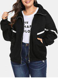 Plus Size Contrast Trim Zip Fly Jacket -