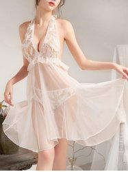Halter Backless Feather Mesh Babydoll -