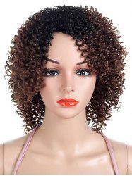 Inclined Bang Colormix Short Kinky Curly Synthetic Wig -