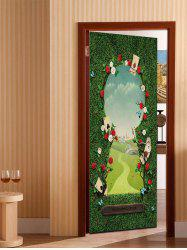 3D Flower Wonderland Pattern Door Art Stickers -